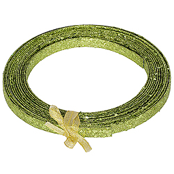 23 Foot Lime Glitter Plastic Christmas Ribbon
