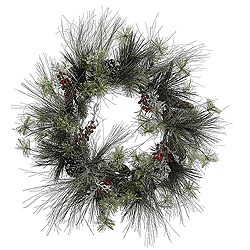 28 Inch Frosted Ponderosa Berry Pine Wreath
