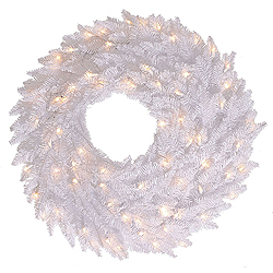 48 Inch White Fir Artificial Christmas Wreath with 150 DuraLit Incandescent Mini Clear Lights