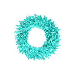 24 Inch Aqua Fir Wreath 50 Aqua Lights