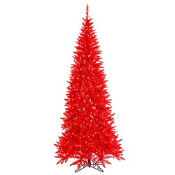 7.5 Foot Slim Red Artificial Christmas Tree - 500 Red Lights