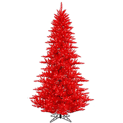 7.5 Foot Red Artificial Christmas Tree 750 Red Lights