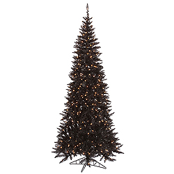 5.5 Foot Black Slim Fir Artificial Christmas Tree 300 Clear Lights