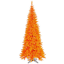 9 Foot Orange Fir Slim Artificial Halloween Tree 700 Incandescent Orange Mini Lights