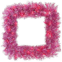 30 Inch Pink Fir Square Wreath