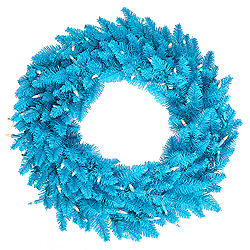 24 Inch Sky Blue Wreath 50 Blue Lights