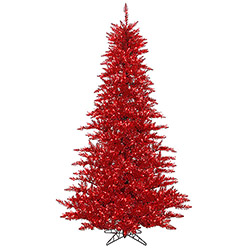 6.5 Foot Tinsel Red Artificial Christmas Tree 600 Red Lights