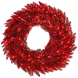 24 Inch Tinsel Red Wreath 50 Red Lights