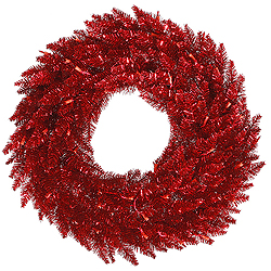 48 Inch Tinsel Red Fir Wreath 480 Branch Tips