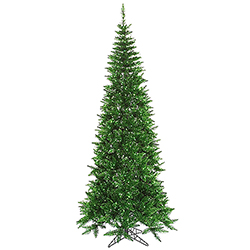 10 Foot Tinsel Slim Green Artificial Christmas Tree 900 Green Lights