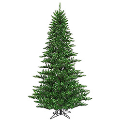 4.5 Foot Tinsel Green Artificial Christmas Tree 250 Green Lights