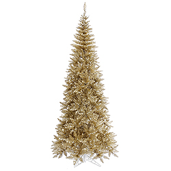 5.5 Foot Champagne Tinsel Fir Slim Artificial Christmas Tree Unlit