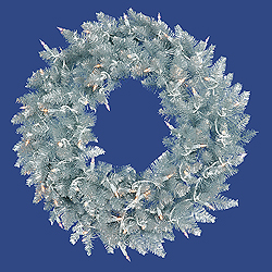 5 Foot Silver Wreath 200 Clear Lights