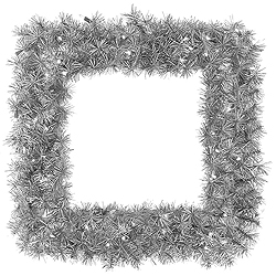 30 Inch Silver Fir Square Wreath 70 Clear Lights