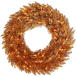 48 Inch Copper Wreath 150 Clear Lights