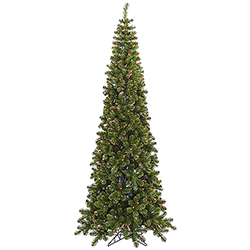 7.5 Foot Pencil Pine Artificial Christmas Tree 400 LED Color Change Lights