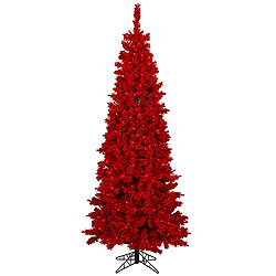 6.5 Foot Flocked Red Fir Artificial Christmas Tree Unlit