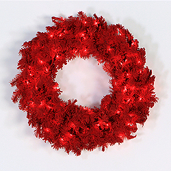 30 Inch Flocked Red Wreath 70 Red Lights