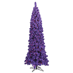7.5 Foot Flocked Purple Artificial Christmas Tree 450 Purple Lights