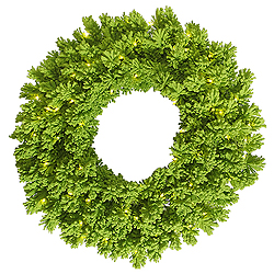 36 Inch Flocked Lime Artificial Christmas Wreath 100 Lime Lights