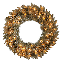 24 inch Antique Champagne Fir Wreath 50 Clear Lights
