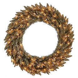 60 Inch Antique Champagne Fir Artificial Christmas Wreath 200 Clear Lights