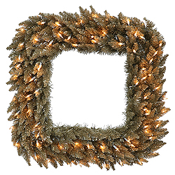 30 Inch Antique Champagne Fir Square Wreath 70 Clear Lights