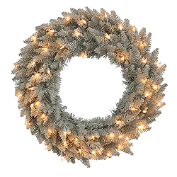 24 Inch Grey Fir Wreath 50 Clear Lights