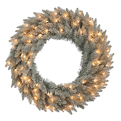 30 Inch Grey Fir Wreath 70 Clear Lights