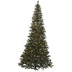 7.5 Foot Green Corner Artificial Christmas Tree 400 Clear Lights