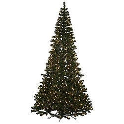 75 foot green half artificial christmas tree 600 clear lights - Half Wall Christmas Tree