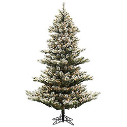 7.5 Foot Flocked Fairbanks Artificial Christmas Tree 700 DuraLit Clear Lights