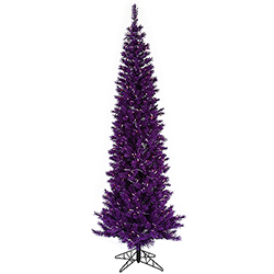 9 Foot Purple Pencil Artificial Halloween Tree 500 Purple Lights