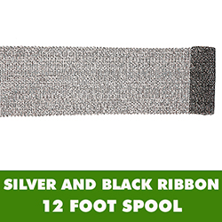 6 Inch Black And Silver Mesh Ribbon 12 Foot Roll