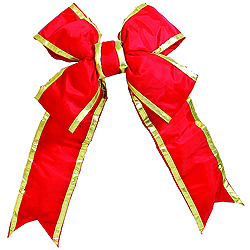 75 Inch Red And Gold Nylon Outdoor Bow Ornament