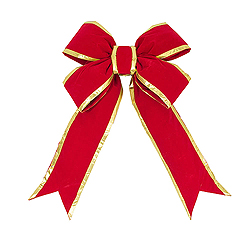 15 Inch Red And Gold Velvet Bow 3.5 Inch Width