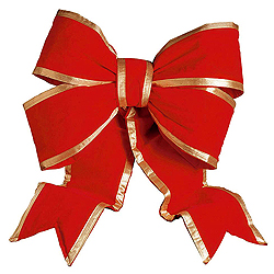75 Inch Red And Gold Velvet Outdoor Bow