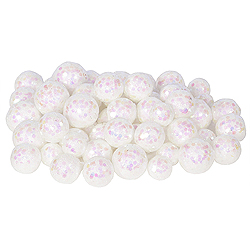 White Glitter Ball Ornaments - Box Of 72