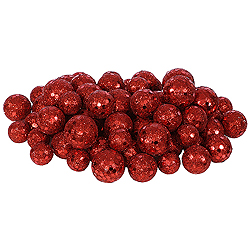 Red Glitter Ball Ornaments - Box Of 72
