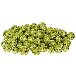 Lime Glitter Ball Ornaments - Box Of 72
