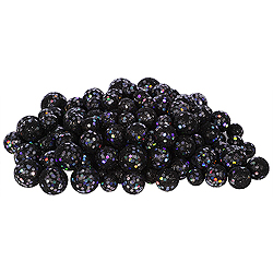 Black Glitter Ball Ornaments - Box Of 72