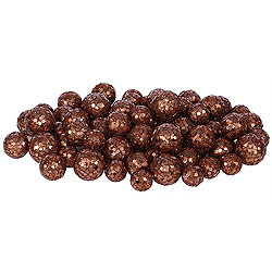 Dark Copper Glitter Ball Ornaments - Box Of 72