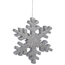8 Inch Silver Outdoor Glitter Snowflake