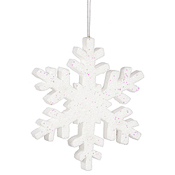 12 Inch White Outdoor Glitter Snowflake Christmas Ornament