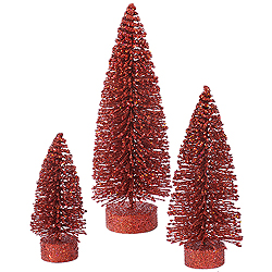 Red Glitter Oval Christmas Village Tree Set of 3 Sizes Small
