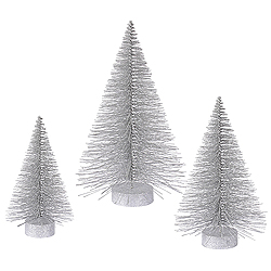 24 Inch Silver Fat Tree 3 per Set