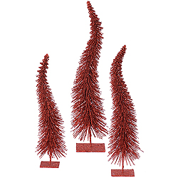 16 Inch Red Curved Tree 3 per Set
