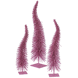 16 Inch Orchid Curved Tree 3 per Set