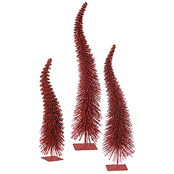 26 Inch Red Glitter Curved Tree 3 per Set