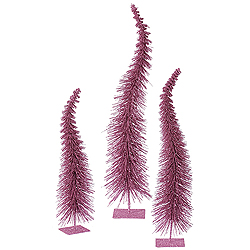 26 Inch Orchid Glitter Curved Tree 3 per Set
